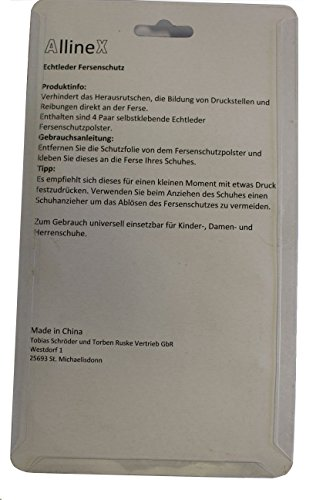4 Paar AllineX Echtleder universal Fersenpolster Fersensporn Fersenschutz Fersenhalter Fersenkissen Fersenschoner zur Vermeidung von Blasen, Druckstellen und Herausrutschen (Beige) -