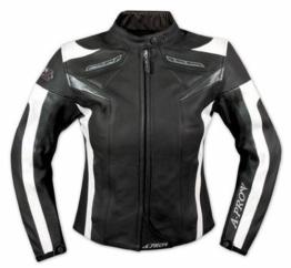 A-pro Lederjacke Damen Motorrad Racing All Season Protektoren Rindsleder Schwarz XS -