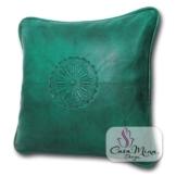 ALMADIH Lederkissen L 35x35 cm grün - handgefertigt Lammnappa Leder Kissen Sofakissen Sitzkissen orientalische Zierkissen - minadesign.de -