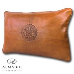 ALMADIH Lederkissen XL 50x35 cm cognac braun Vintage aus Lammleder - echt Leder Kissen Sofakissen Sitzkissen Dekokissen orientalische Zierkissen Kissenbezug Kissenhülle Lounge-Kissen -