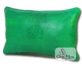ALMADIH Lederkissen XL 50x35 cm mittelgrün grün - handgefertigt Lammnappa Leder Kissen Sofakissen Sitzkissen orientalische Zierkissen - minadesign.de -
