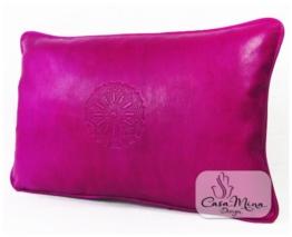 ALMADIH Lederkissen XL 50x35 cm pink - handgefertigt Lammnappa Leder Kissen Sofakissen Sitzkissen orientalische Zierkissen - minadesign.de -