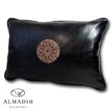 ALMADIH Lederkissen XL 50x35 cm schwarz aus echtem Lammleder - Leder Kissen Sofakissen Sitzkissen orientalische Zierkissen -