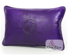 ALMADIH Lederkissen XL 50x35 cm violett - handgefertigt Lammnappa Leder Kissen Sofakissen Sitzkissen orientalische Zierkissen - minadesign.de -