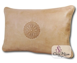ALMADIH Lederkissen XL 50x35 cm weiß creme aus echtem Lammleder - Leder Kissen Sofakissen Sitzkissen Dekokissen orientalische Zierkissen Lederkissen für Sofa -