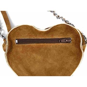 Almbock Trachten-Tasche Gerti Herz in braun - verziert mit Stickerei in grün, edel für die Lady, mit eleganter Leder-Kette, individuell -