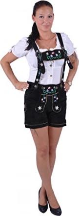 Almwerk Damen Trachten Lederhose Modell Blümli in braun, schwarz, rot und grün, Größe Damen:S - Größe 36;Farbe:Schwarz -