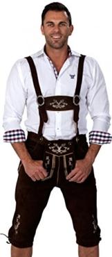 Almwerk Herren Trachten Lederhose Kniebund Modell Hipster, Farbe:Schwarz;Lederhose Größe Herren:52 -
