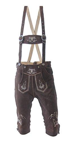 Almwerk Herren Trachten Lederhose Kniebund Modell Platzhirsch, Farbe:Braun;Lederhose Größe Herren:50 -
