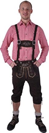 Almwerk Herren Trachten Lederhose Kniebund Modell Sepp in schwarz und braun, Farbe:Braun;Größe Herren:48 -