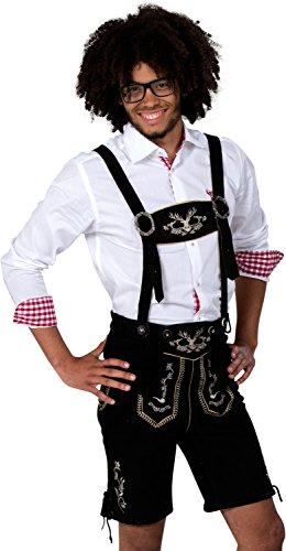 Almwerk Herren Trachten Lederhose kurz Modell Hipster, Farbe:Schwarz;Lederhose Größe Herren:48 -