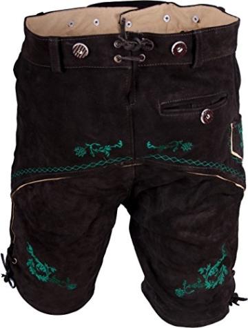 Almwerk Herren Trachten Lederhose Modell Platzhirsch in kurz und Kniebund braun grün, Größe Herren:52 - XL - Bundweite 90-94 cm;Lederhose:Kurz -
