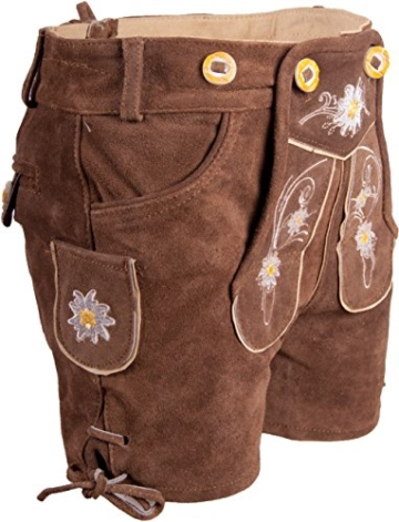 Almwerk Kinder Trachten Lederhose kurz in braun, hellbraun, schwarz und rot, Kindergrößen:122 - 6-7 Jahre. 117-122 cm;Farbe:Hellbraun -