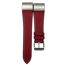 Bescita Hauptschicht Rindsleder Uhrenarmband Ersatz-Armband Lederband Armband für Fitbit Charge 2 (Rot) -