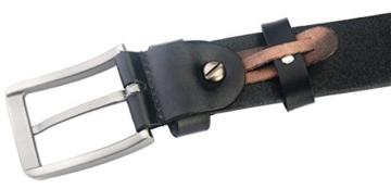 Blasea Volles Korn Leder Gürtel beiläufige Art Dornschliesse Jeans Herren Gürtel 653 Schwarz 115cm -