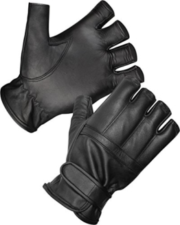 Blei Handschuhe ohne Finger aus Rindsleder / Security Sommer Handschuhe S-3XL Größe 3XL -