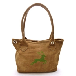 Braune Trachtentasche Dirndltasche echt Leder mit oliver Trachtenstickerei Hirsch -
