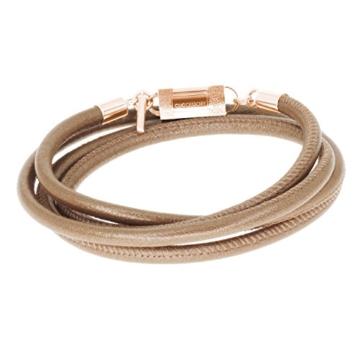 Braunes Lammleder Unisex Wickelarmband, sicherer Magnetverschluss, kostenlose Geschenkverpackung. CLICCESSORY CORDÓN Bronce Puro Roségold 75cm. Durch das CLIC System werden die Armbänder zu Halsketten -