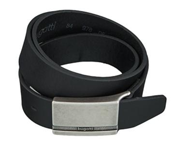 bugatti Gürtel Leder Herrengürtel Ledergürtel Herrenledergürtel Rindsleder 35 mm Schwarz1081, Länge:105 cm, Farbe:Schwarz -