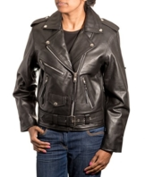 Damen echtes Leder enge brando Retro Biker Jacke. ErhŠltlich in Rindsleder und Nappaleder. -