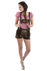 Damen Jugendstil Wiesn Trachtenlederhose - statt Dirndl - kurz Trachten Lederhose dunkelbraun Trachtenhose Hotpants Lederhose (38, dunkelbraun) -