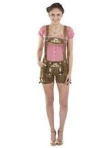Damen Kolibri Trachtenlederhose kurz Trachten Lederhosen braun sexy Hotpants echtes Leder Hose Trachtenhose (38, Dunkelbraun) -