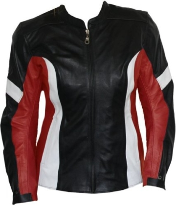 Damen Lederjacke Motorradjacke aus Rindsleder Kombijacke Schwarz/Rot, Größe:XXXL -