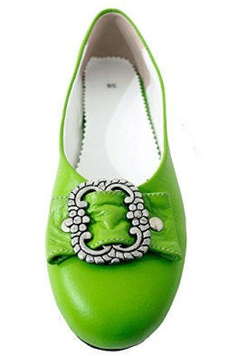 Damen Trachtenschuhe Dirndl Schuhe Trachten Ballerinas Echtes Rindnappaleder Premium, Grün, Gr.37 -