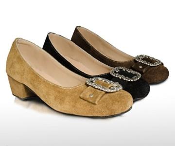 Damen Trachtenschuhe Dirndl Schuhe Trachten Pumps, Echtes Leder, Drei Farben Gr. 37-41 (38, Rehbraun) -