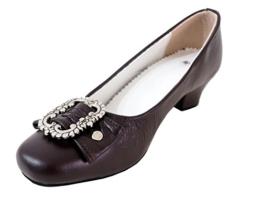 Damen Trachtenschuhe Dirndl Schuhe Trachten Pumps - Echtes Rindnappaleder Premium,Dunkelbraun, Gr.39 -