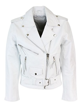 Damenjacke 100% Echtleder Weiß Brando Still Motorrad Jacke Rindsleder -