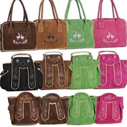 Dirndltasche Handtasche Trachten Tasche aus echtem Leder, 23cm, dunkelbraun -