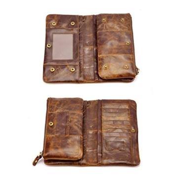 Dopobo® Herren Geldbörsen Herren Portemonnaie Brieftasche vertikale Brieftasche im Vintage-Stil Design (crazy Horse Brown) -