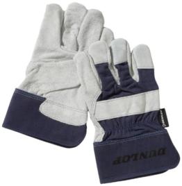 Dunlop 360134 Profi Arbeitshandschuhe Gr. L, Rindsleder & Baumwolle, blau, Cat 2 zertifiziert EN 388/ 3243 -