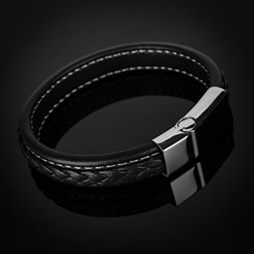 Edles Leder-Armband für Herren, breit mit Rindsleder und geflochtener Oberfläche Autiga® schwarz 19,5 cm -