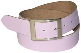 FRONHOFER Gürtel 4 cm Ledergürtel, rechteckige Gürtelschnalle in silber, echt Rindsleder, günstiger Damengürtel, viele Farben, 17575, Größe:Bundweite 120 cm, Farbe:Rosa -