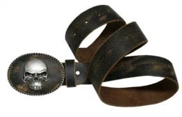 Gr. 90-150cm Trachtengürtel Trachten-Gürtel f. Lederhose Ledergürtel Totenkopf, Größe/Länge:110 -