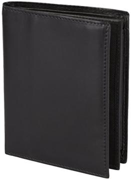 Handgefertigte Schwarze Ledergeldbörse mit viel Stauraum aus echtem Rind-Leder, Modell 3546, Farbe:Schwarz -