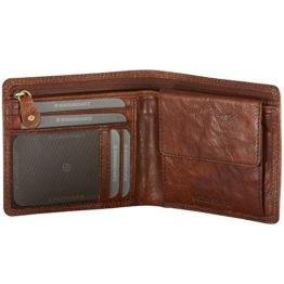 Herren Geldbörse aus Rinds-Leder; moderne Brieftasche in Congnac-Braun im Querformat von Bodenschatz mit RFID-SAF für Ihre Sicherheit gegen ein Auslesen sensibler Daten -