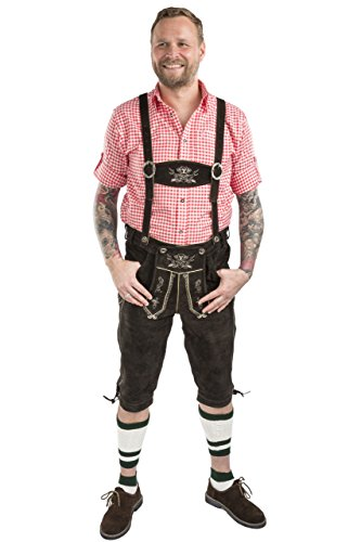Herren Hopfen und Malz Trachtenlederhose Kniebundhose braun Trachten Lederhose Kniebund Leder Hose (48, dunkelbraun) -