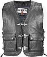 Herren Leder Weste Biker Kutte Club Jacke Rocker Chopper 1010 (6XL) -