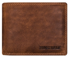Hill Burry Geldbörse | Hochwertiges Portmonnaie aus natürlich gegerbten Leder - Rindsleder (Braun) -