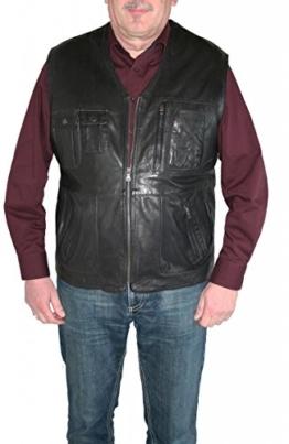itallo Lederweste Lammleder echt Leder Weste 2827 dunkelbraun oder schwarz, Farbe:Schwarz, Herren-Größe:52 -