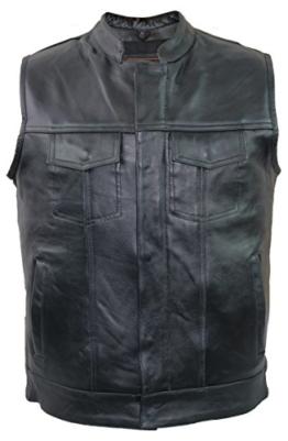 Jeans Lederweste aus echtem Rindsleder (4XL) -