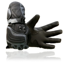 Juicy Trendz New Rindsleder Motorrad Grau Leder Motorrad-Handschuhe Motorcycle Gloves schwarz X-Large -