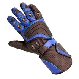 Juicy Trendz Rindsleder motorrad Biker Handschuhe Blau Large -