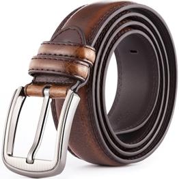 Katusi 13 der Ledergürtel von Männer für Business und Freizeit der Gürtel aus rein Lerder für Mode Rindsleder 3.8cm Breite (115cm, 1) -