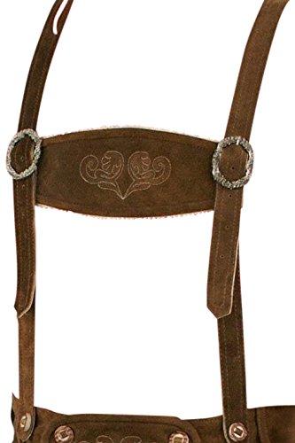 Klassische Trachten Leder Hosenträger für Trachten Lederhose in schwarz, mittelbraun oder dunkelbraun (mittelbraun) -