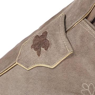 kurze Herren Trachten-Lederhose sandgrau aus Echtleder mit traditioneller Stickerei, Größe 50 -