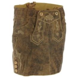 kurzer Lederhosen Rock in Braun von Marjo Trachten, Größe:38;Farbe:Hellbraun -